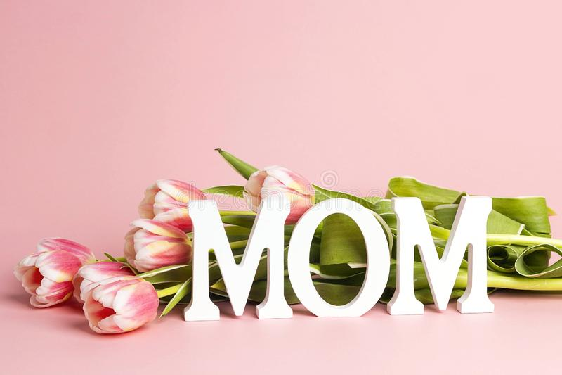 Mothers day message with tulips flowers andcopy space on pink background stock photography