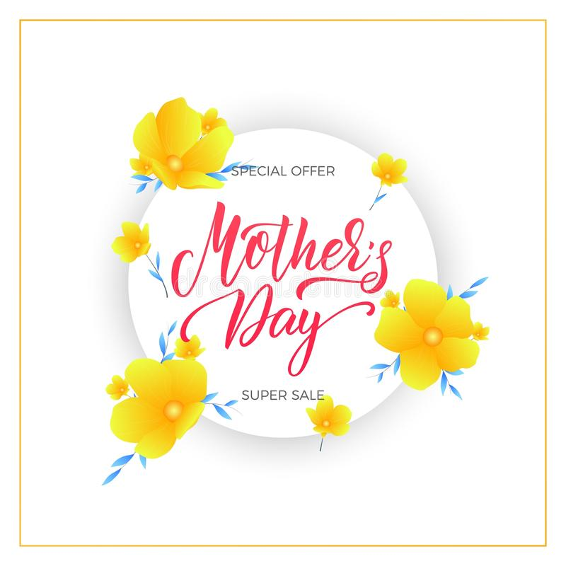 Mothers Day. Mother`s Day sale banner with flowers and lettering stock illustration