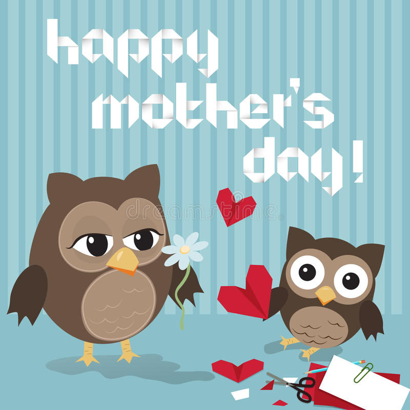Mothers day owl. /Cute illustration of happy mother and kid owl crafting origami hearts royalty free illustration