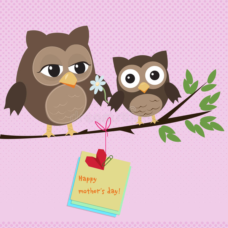 Mothers day owl. /Cute illustration of happy mother and kid owl sitting on tree branch royalty free illustration