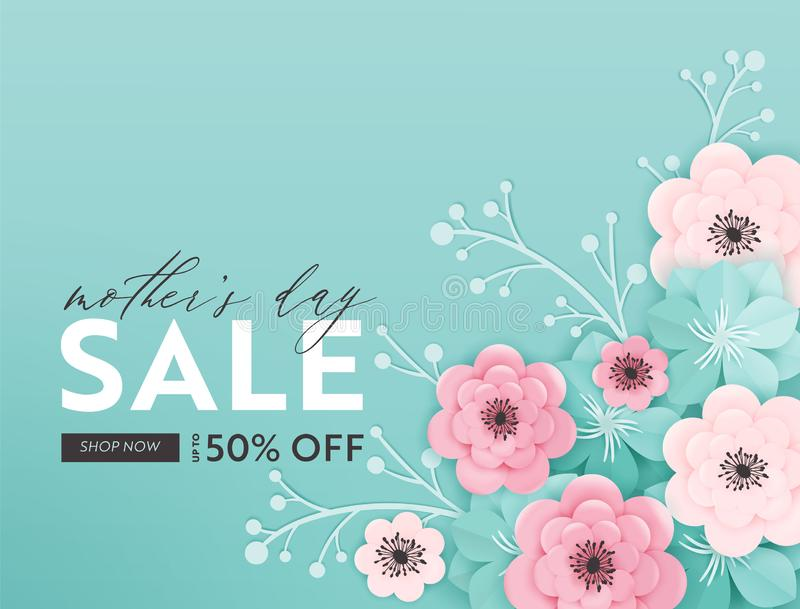 Mothers Day Sale Design. Spring Promo Discount Banner Template with Paper Cut Flowers for Flyer, Poster, Voucher stock illustration
