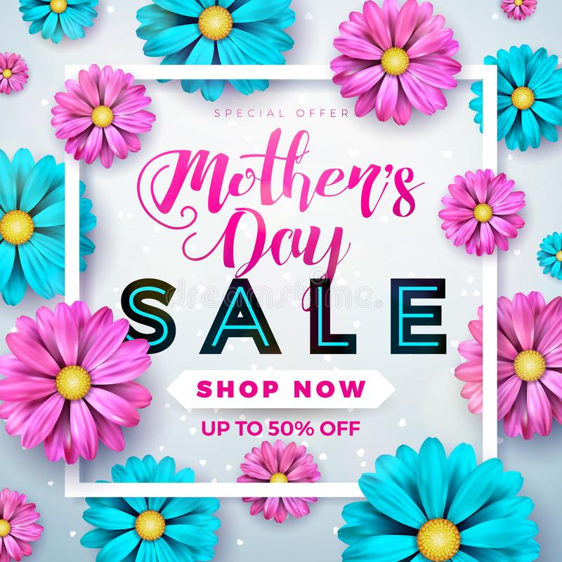 Mothers Day Sale Greeting card design with flower and typographic elements on abstract background. Vector Celebration stock illustration