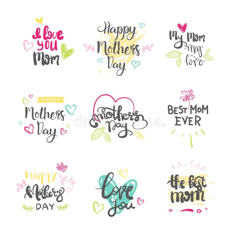 Mothers day set of creative logos isolated holiday greeting card download mothers day set of creative logos isolated holiday greeting card lettering stock vector illustration m4hsunfo