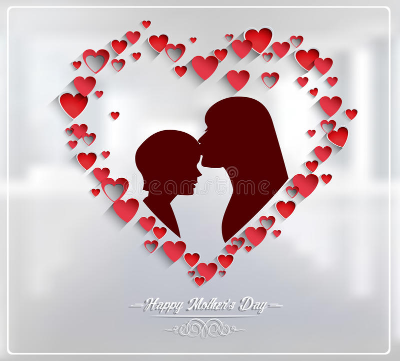 Mothers day with Silhouette of a mother and child. Illustration of Mothers day with Silhouette of a mother and child vector illustration