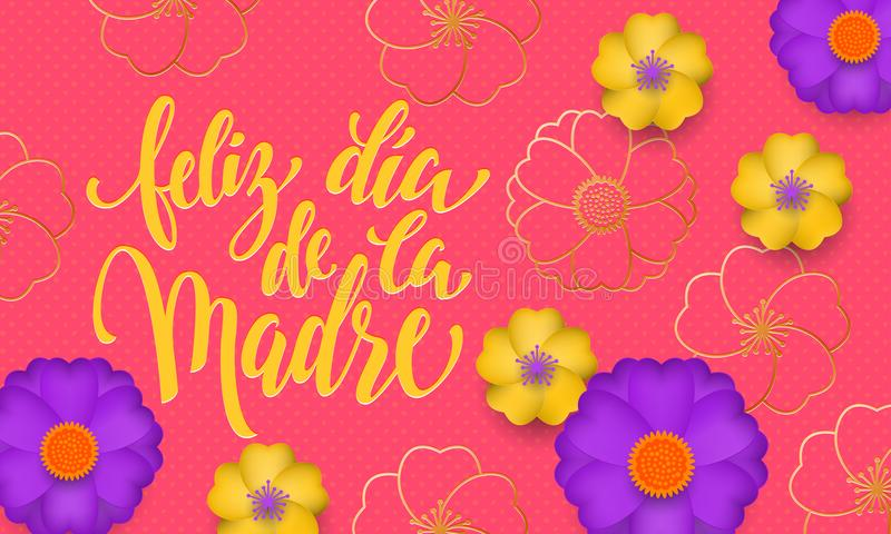 Mothers Day in Spanish with yellow, blue flower in gold blooming pattern banner and spanish text Feliz dia de la Madre. Design tem stock illustration