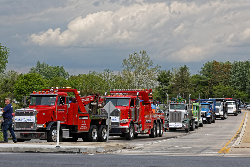 Mothers Day Truck Convoy in Lancaster Pennsylvania. LANCASTER PA - MAY 14 2017: Make-A-Wish Foundation sets a new record for the largest truck convoy. On the stock photo