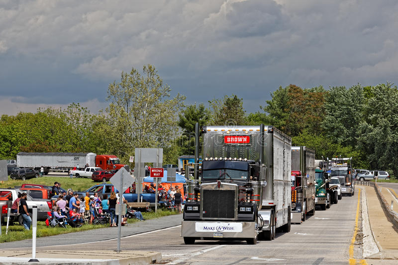 Mothers Day Truck Convoy in Lancaster Pennsylvania. LANCASTER PA - MAY 14 2017: Make-A-Wish Foundation sets a new record for the largest truck convoy. On the stock photography