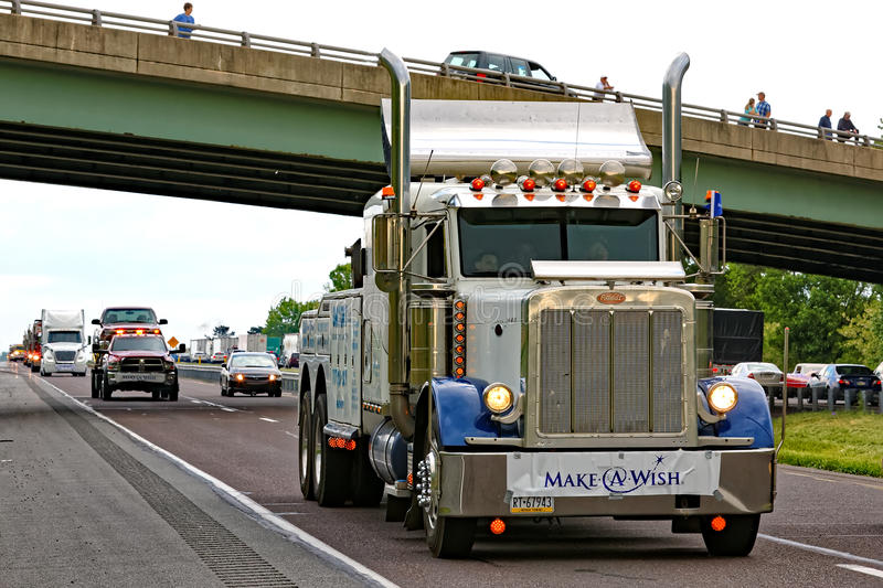 Mothers Day Truck Convoy in Lancaster Pennsylvania. LANCASTER PA - MAY 14 2017: Make-A-Wish Foundation sets a new record for the largest truck convoy. On the royalty free stock image