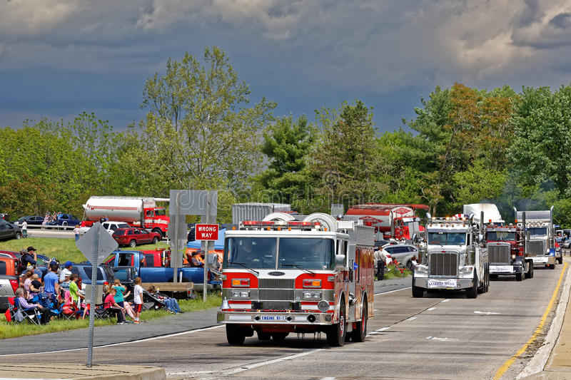 Mothers Day Truck Convoy in Lancaster Pennsylvania. LANCASTER PA - MAY 14 2017: Make-A-Wish Foundation sets a new record for the largest truck convoy. On the royalty free stock photos
