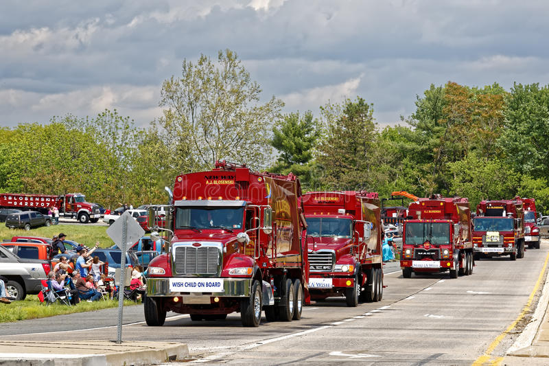 Mothers Day Truck Convoy in Lancaster Pennsylvania. LANCASTER PA - MAY 14 2017: Make-A-Wish Foundation sets a new record for the largest truck convoy. On the stock images
