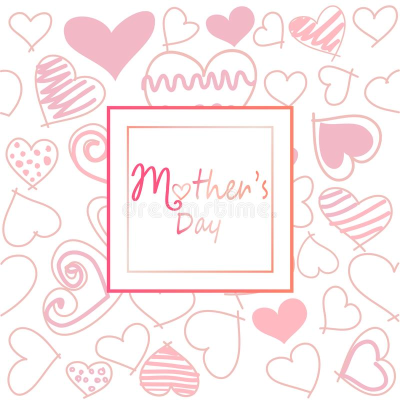 Mother`s day template card, postcard, greeting card stock illustration