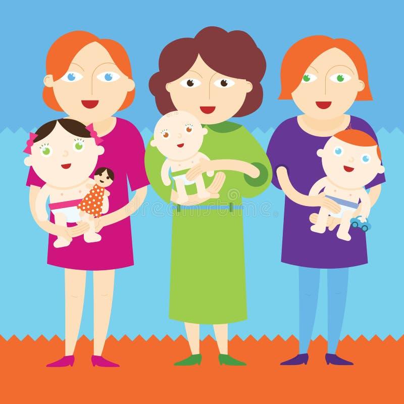 Mothers holding beautiful babies stock illustration