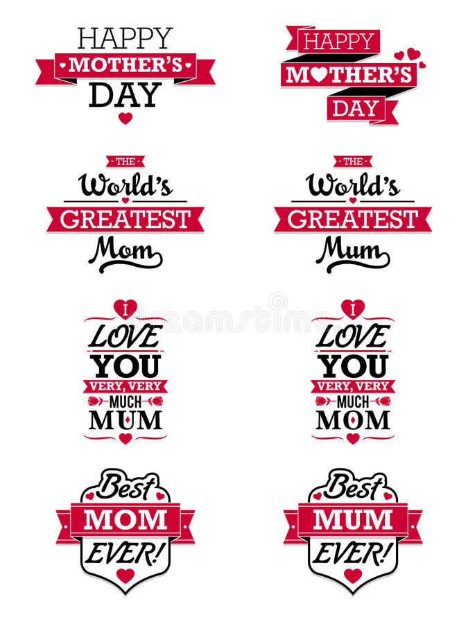 Mothers Day Text Elements. A set of various text elements for Mothers Day. English spelling also included