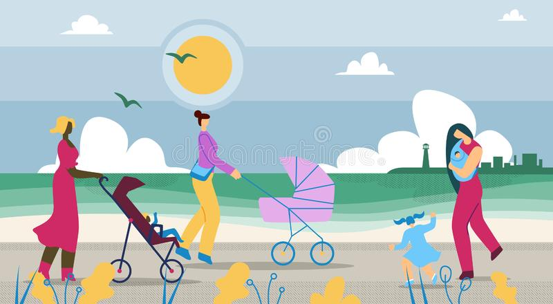Mothers Walk with Children Along Coast Cartoon. Pleasant Walk in Countryside. Mothers Ride Strollers with Children. Little Girl Walks with her Mother Baby royalty free illustration