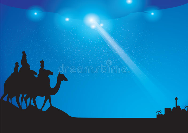 Mothership over bethlehem. Ufo shining light beam down towards bethlehem with three kings below...could this have happened vector illustration