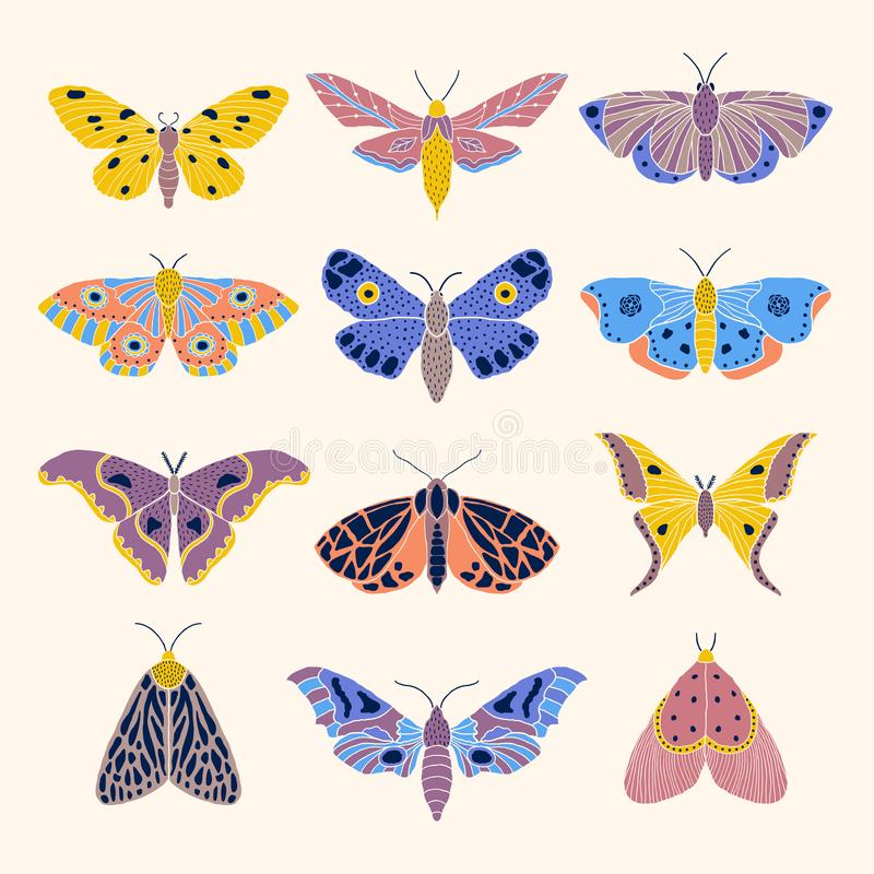 Moths and butterflies. Set of hand drawn moths and butterflies in doodle style vector illustration