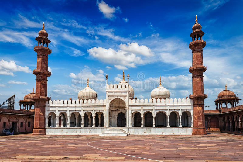 Moti Masjid珍珠清真寺,博帕尔,印度 库存照片