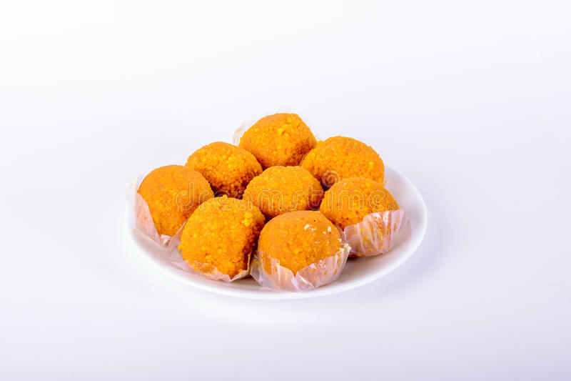 Motichoor Laddoo (Indian Sweet) stock images