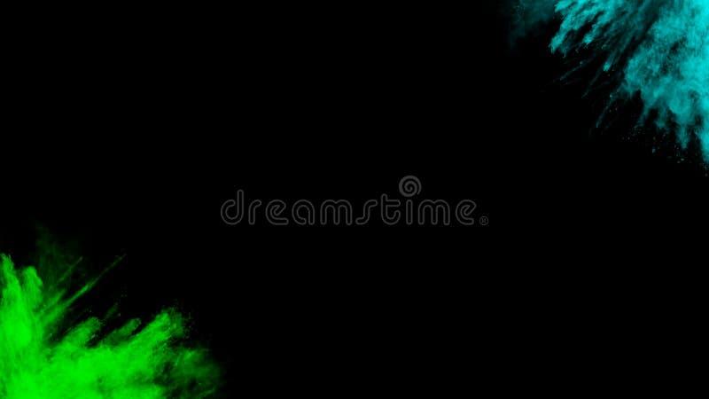 Motie groene lichtblauwe inkt met zwart het ontwerppoeder van de achtergrondstofexplosie royalty-vrije illustratie