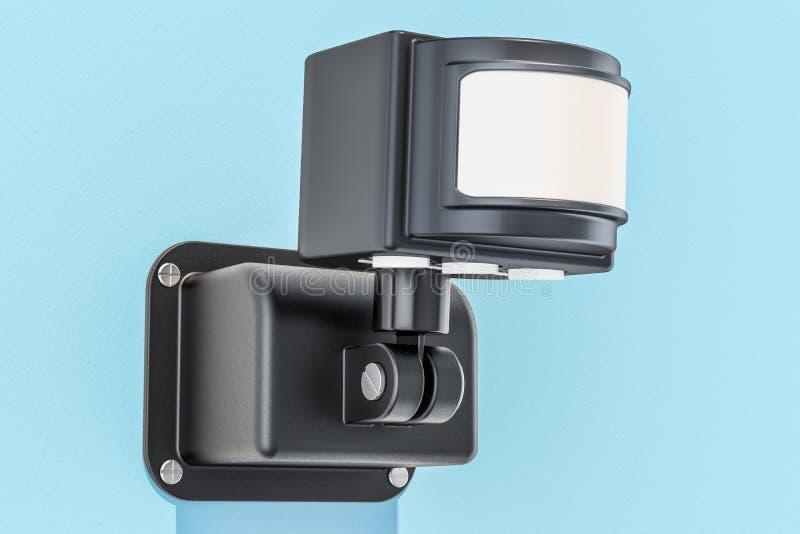 Motiedetector op de blauwe muur, het 3D teruggeven stock illustratie