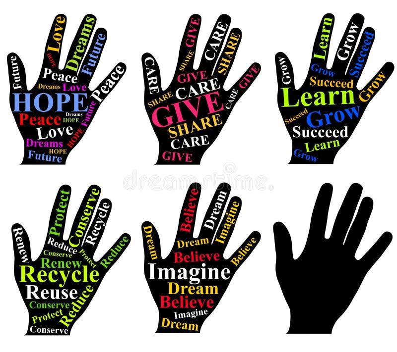 Motieven Woorden als Kunst op Menselijke Handen stock illustratie