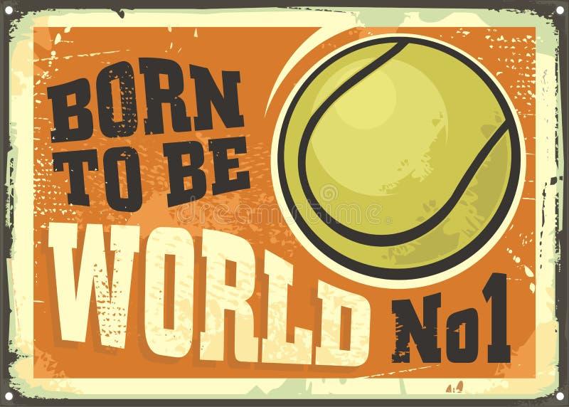Motievenafficheontwerp met tennisbal en inspirational citaat vector illustratie