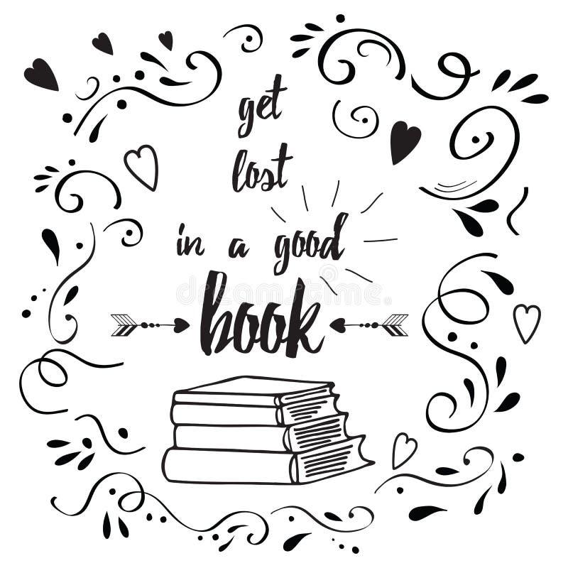 Motievencitaat over boek en gelezen vector illustratie