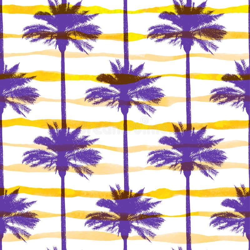 Motif avec palmiers et bandes jaunes d'aquarelle illustration libre de droits