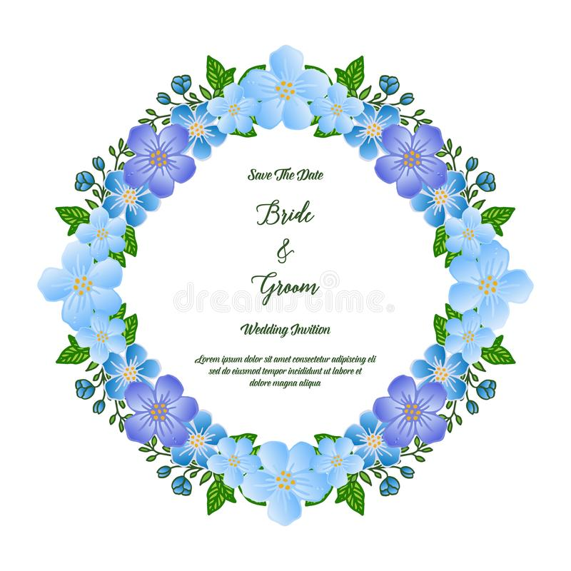 Motif beautiful colorful flower frame, for lettering text bride and groom. Vector royalty free illustration