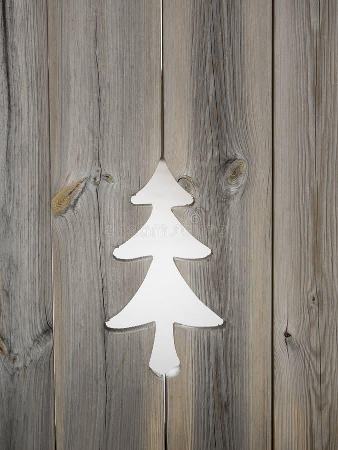 Motif d'arbre de Noël dans les panneaux en bois de volet photos libres de droits