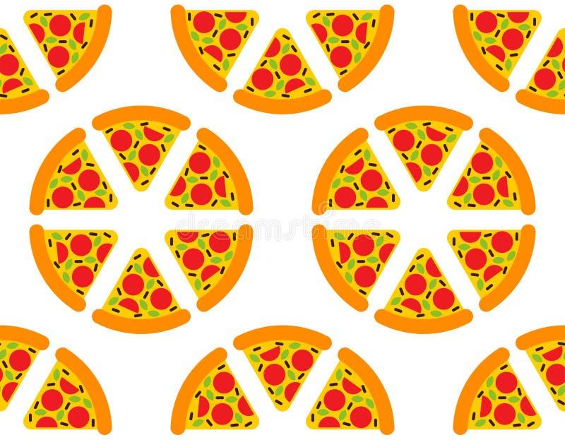 Motif de dessin animé Pizza en continu. Contexte de la restauration rapide. texture vectorielle illustration de vecteur