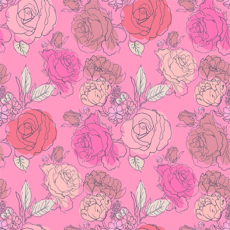 Motif de fleurs roses rouges roses illustration de vecteur