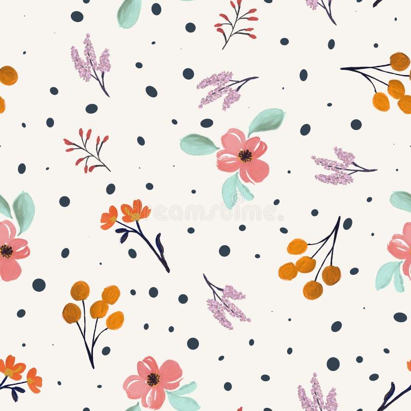 Motif de la fleur d'eau Impression textile Polka-dot illustration de vecteur