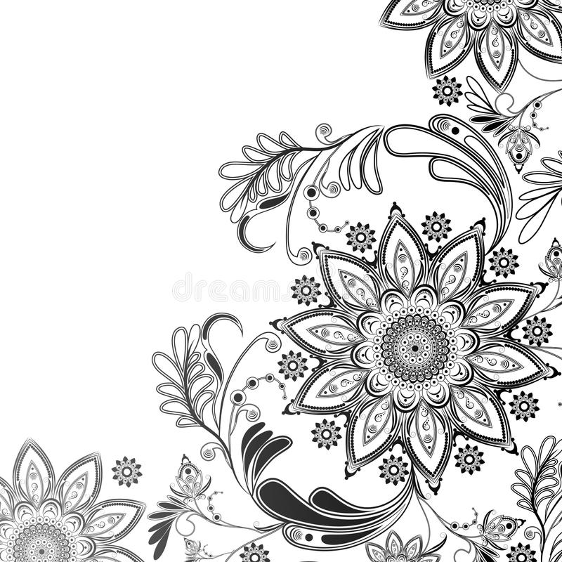 motif oriental en noir et blanc illustration de vecteur. Black Bedroom Furniture Sets. Home Design Ideas