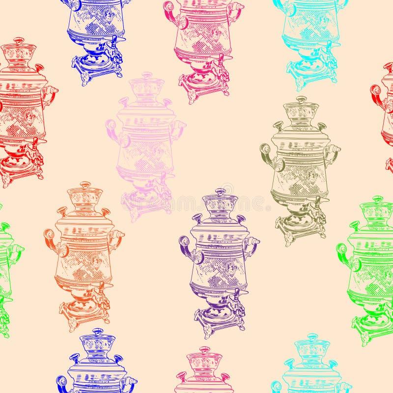 Motif sans soudure pour samovar Vintage dans le style graphique images stock