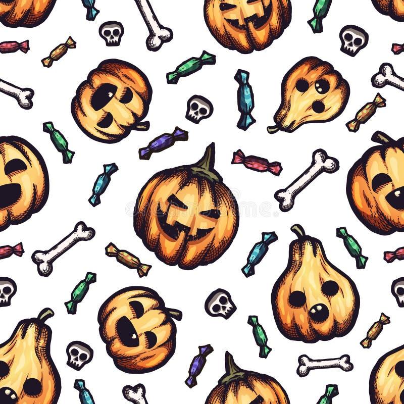 Motif vectoriel d'Halloween dessiné à la main sans couture avec doodles de dessin animé image libre de droits