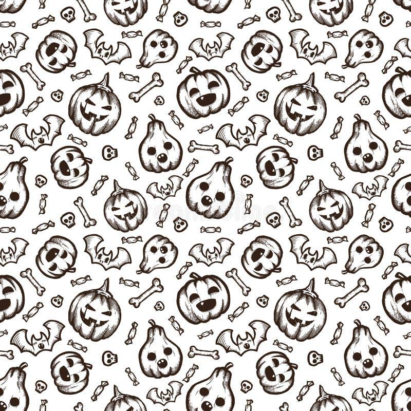 Motif vectoriel d'Halloween dessiné à la main sans couture avec doodles de dessin animé photographie stock libre de droits