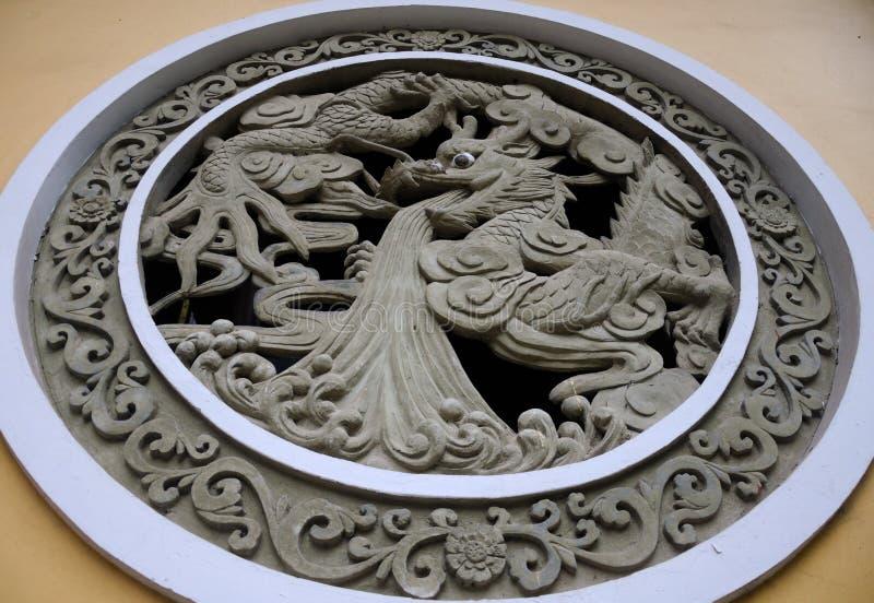 Motiff della pietra di Dragon Carved fotografia stock libera da diritti