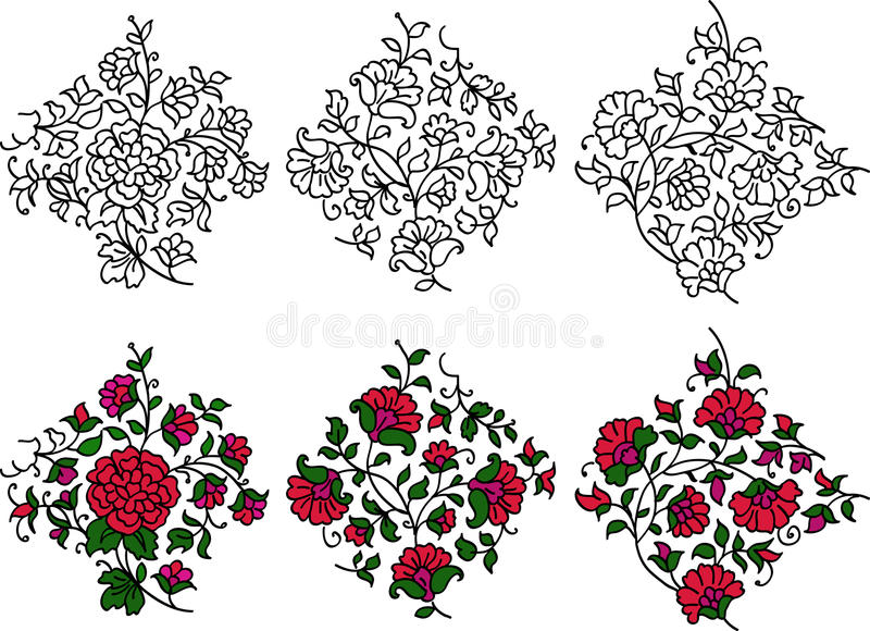 Motifs colorés de flourish illustration stock