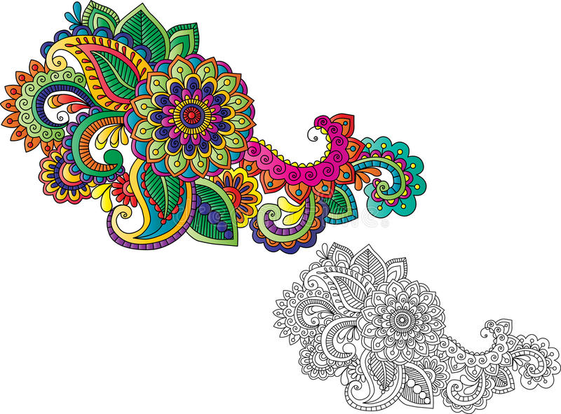 Motifs de tatouage de henné illustration de vecteur