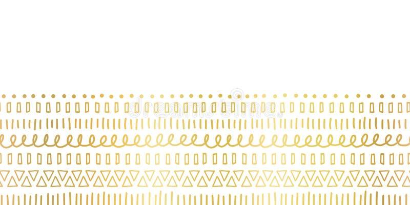 Motifs ethniques et tribals de feuille d'or sans couture de frontière Courses d'or tirées par la main de griffonnage, lignes, tri illustration de vecteur
