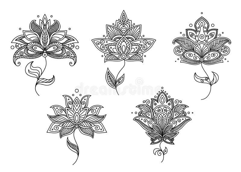 Motifs floraux noirs et blancs de style persan illustration de vecteur