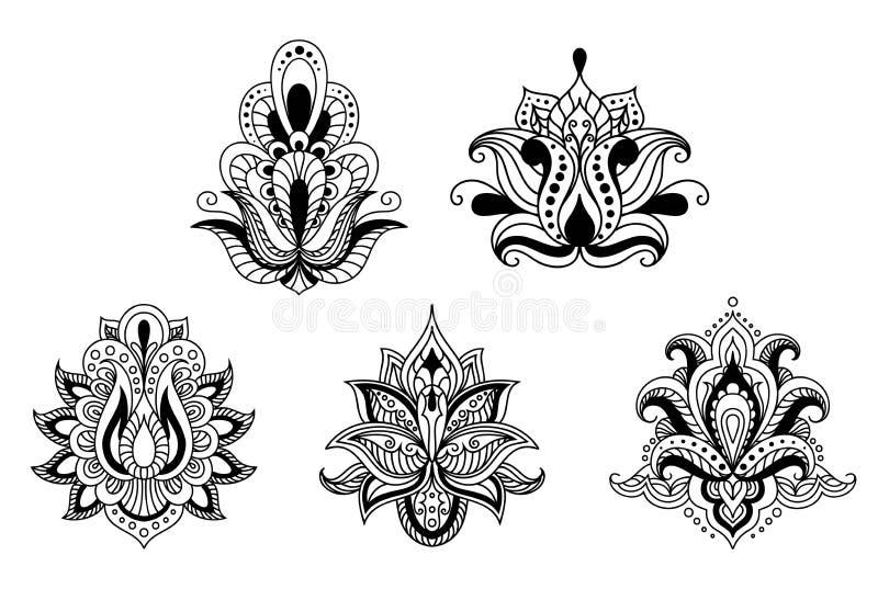 Motifs floraux noirs et blancs de style persan illustration libre de droits