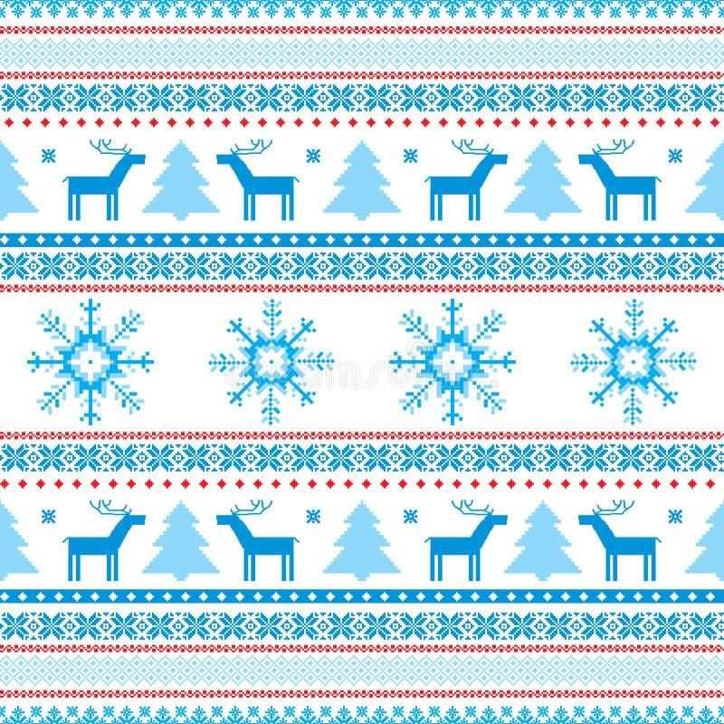 Motifs tricotés par île juste de fond de Noël illustration stock
