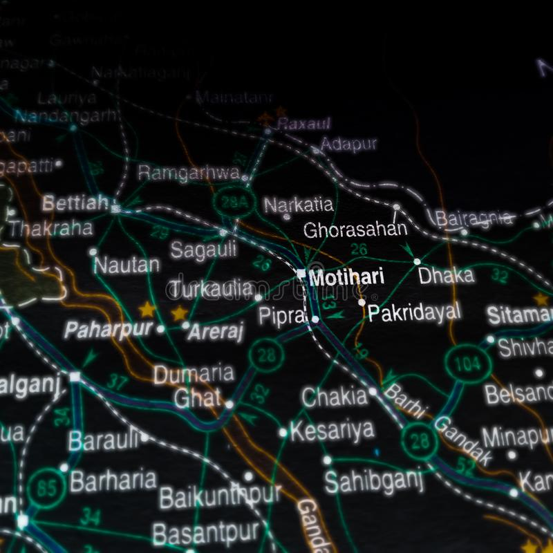 Motihari city in bihar India displaying on geographical location map. Ranchi, presented, bokaro, steel, plant, name, displayed, dhanbad, place, meghalaya royalty free stock images