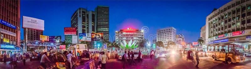 Motijheel商业地区,达卡全景  库存照片
