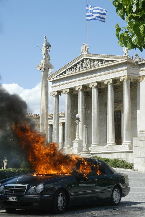 Motins em Atenas foto de stock