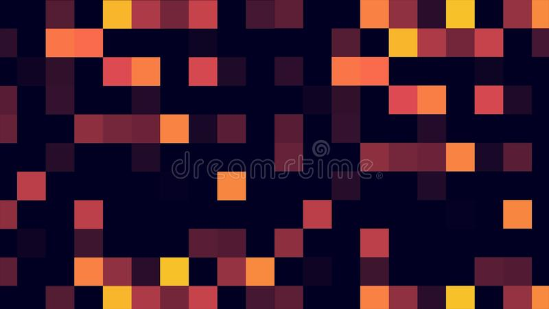 Motion abstract background colorful pixels flashing and switch. Animation background glowing of mosaic tiles. Moving royalty free illustration