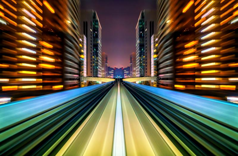 Motion blur future vehicle moving in city road or rail. Motion blur background abstract. Future concept stock photo