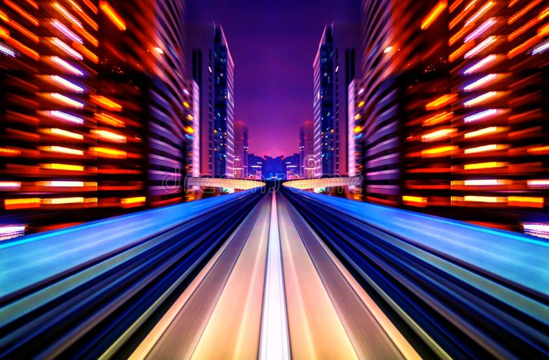 Motion blur future vehicle moving in city road or rail. Future abstract background royalty free stock photography